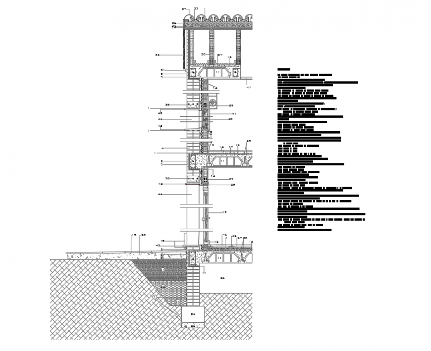 One family town house constructive sectional details dwg file