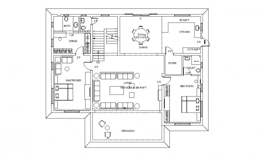 One family two bedroom house architecture layout plan cad drawing details dwg file