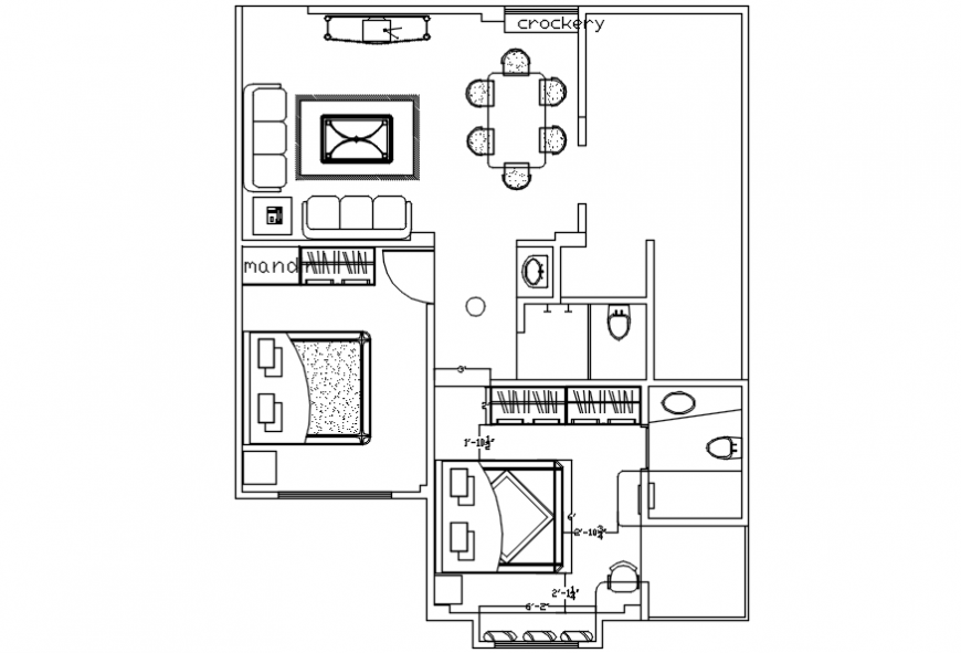 One family two bedroom house plan cad drawing details dwg file