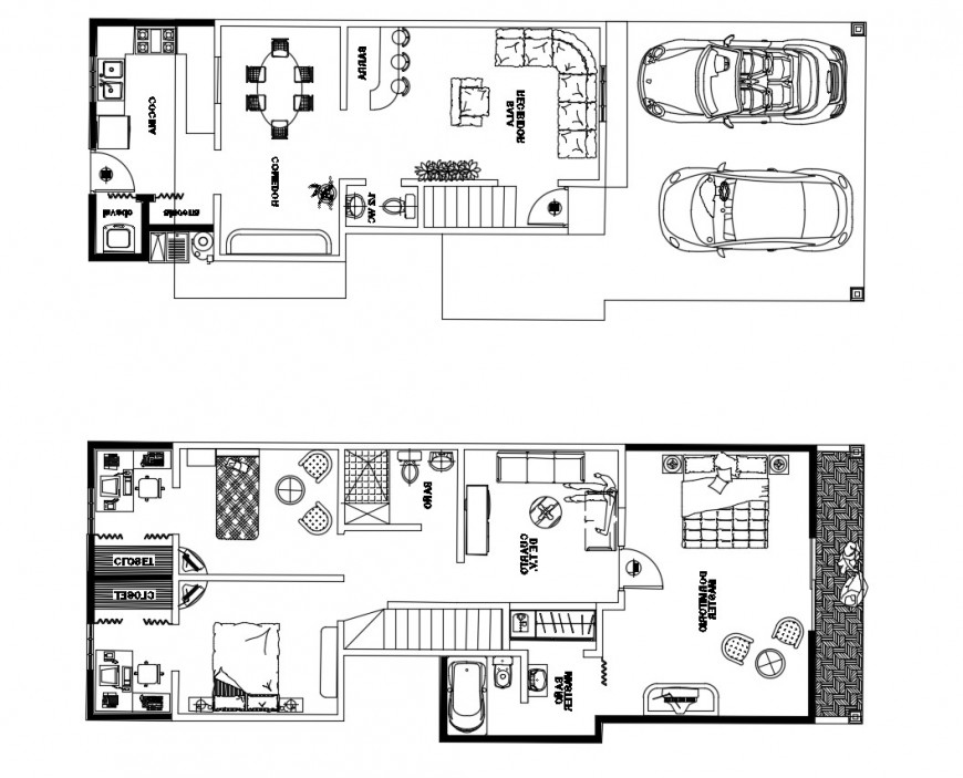 One family two level house floor plan cad drawing details dwg file