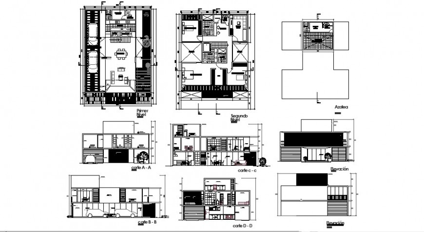 One family urban house elevation, section and floor plan details dwg file