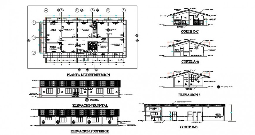One level clinic project detail cad file