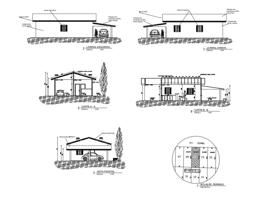 One level house all sided elevation and section 2d drawing details dwg file