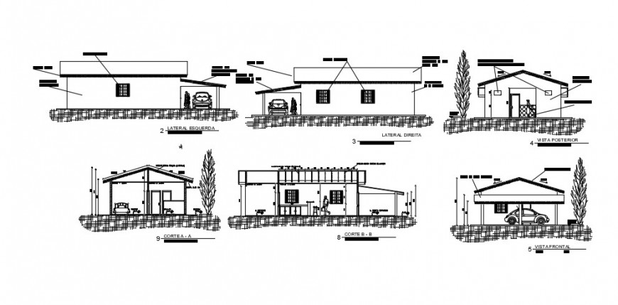 One level house all sided elevation and section drawing details dwg file