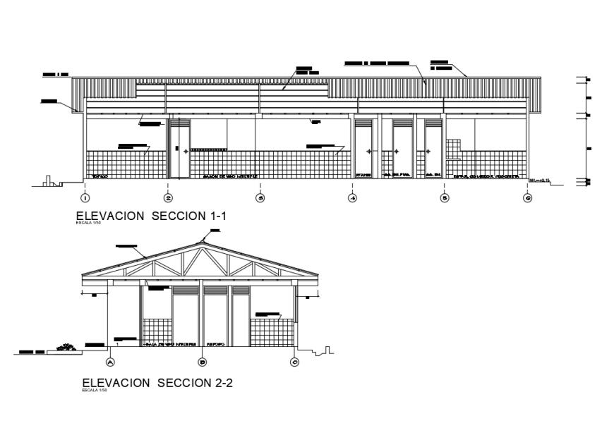 One level house elevation and sectional details dwg file