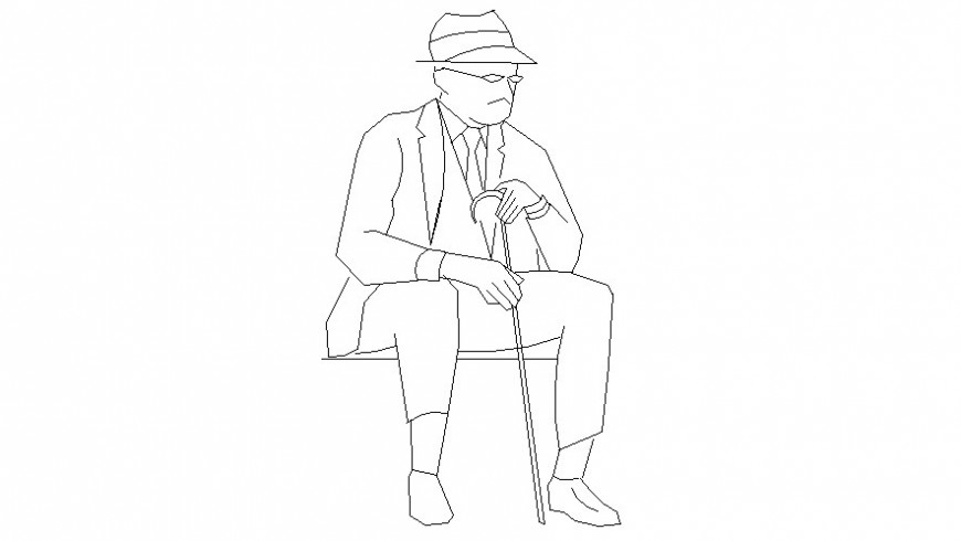 One old men seating with stick in AutoCAD file