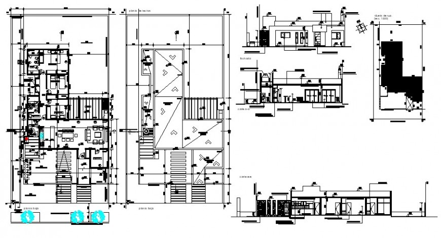 One story family housing units details work plan autocad file