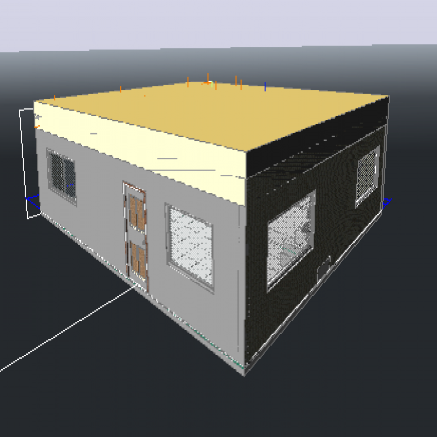 One story house 3d design details dwg file