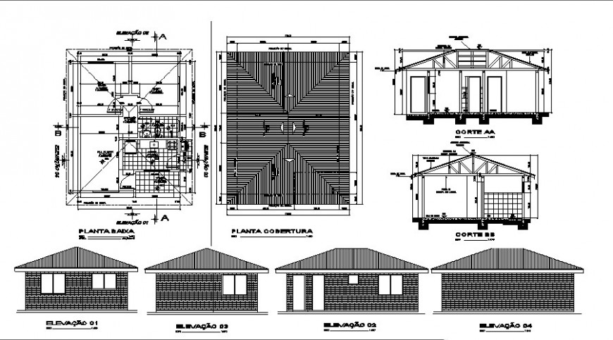 One story house all sided elevation, plan and structure details dwg file
