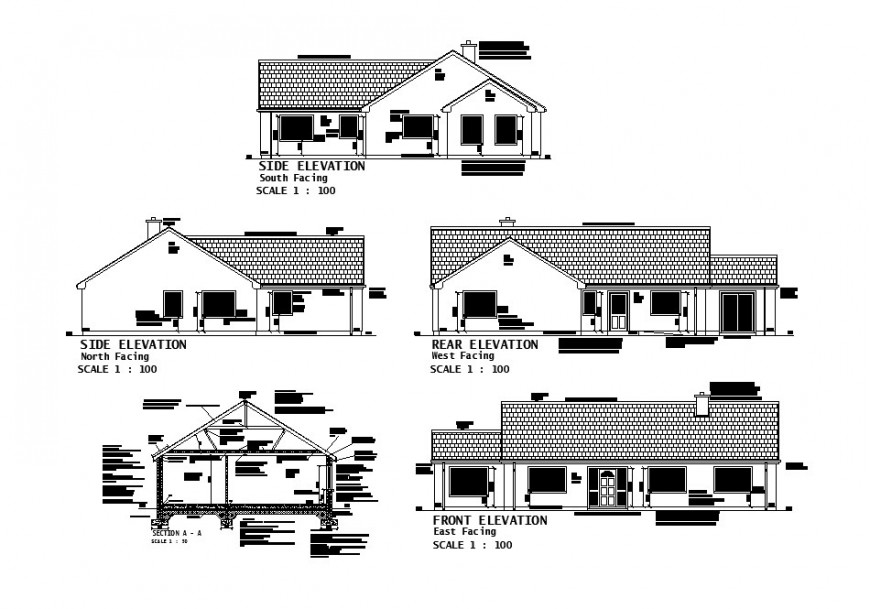 One story house all sided elevation and section cad drawing details dwg file