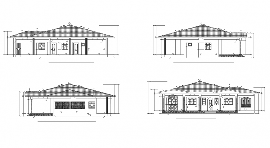 One story house all sided elevation cad drawing details dwg file