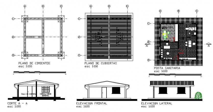 One story house elevation, section, plan, foundation plan and cover plan details dwg file