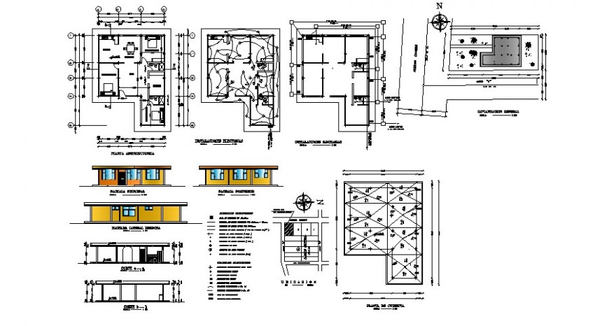 One story house elevation, section, plan and structure cad drawing details dwg file