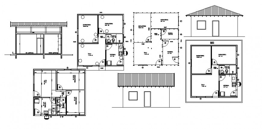 One story house elevation, section and plan auto-cad drawing details dwg file