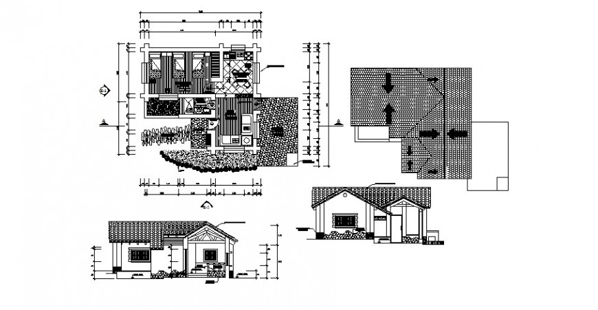 One story house elevation and plan cad drawing details dwg file