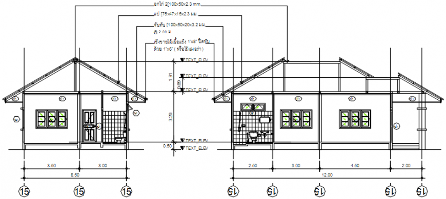 One story house front and side section cad drawing details dwg file