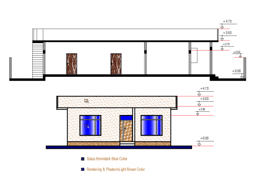 One story house front elevation and sectional details dwg file