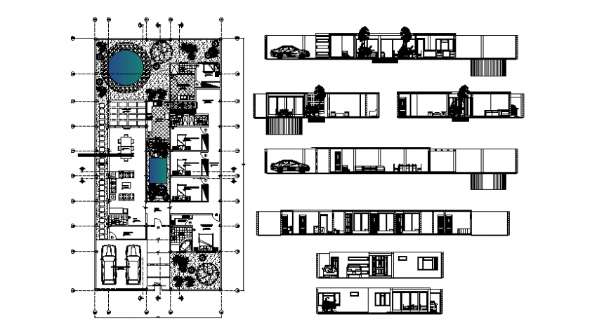 One story housing units plan elevation and sections in autocad drawings
