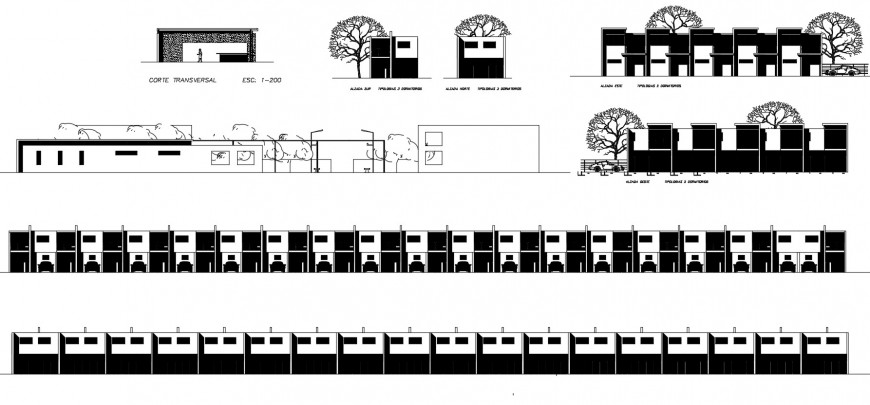 One story residential houses all sided elevation and compound wall details dwg file