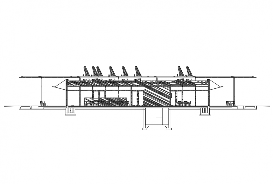 One story restaurant facade sectional details dwg file