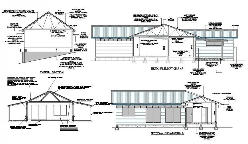 One story roof house all sided section cad drawing details dwg file