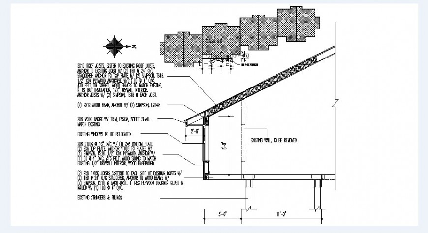 One story roof house cut constructive section drawing details dwg file