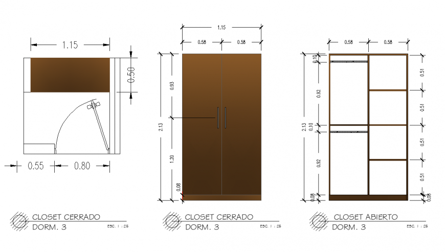Open able closet detail drawing in dwg AutoCAD file.