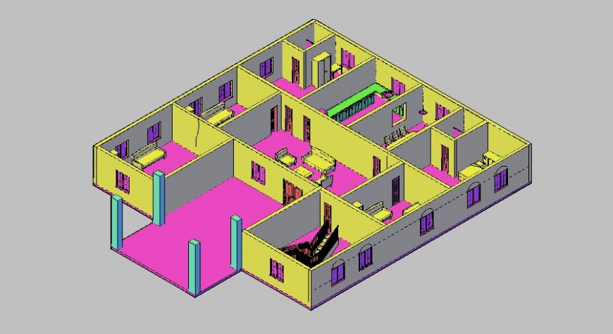 Open box 3d model of the house in AutoCAD file.
