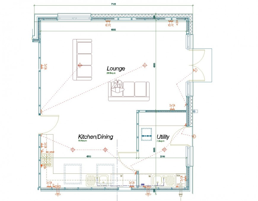 Open plan living area design layout file