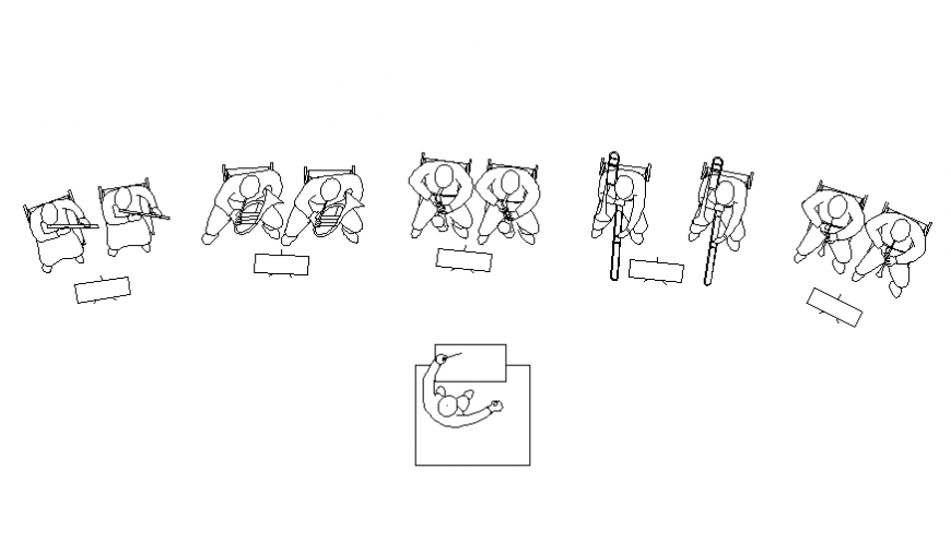 Orchestra people blocks top view elevation cad drawing details dwg file