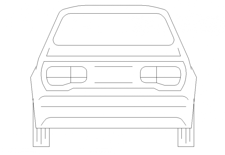 Ordinary car front elevation view cad block details dwg file