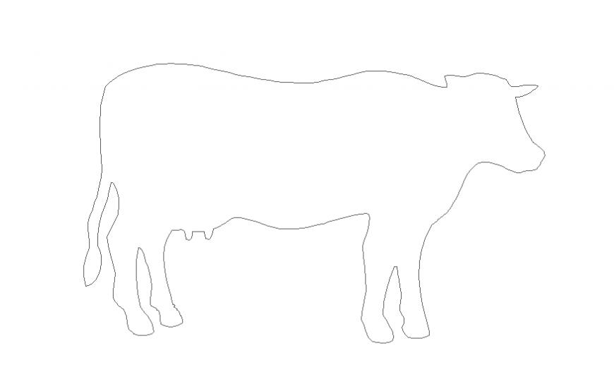 Ordinary cattle side elevation cad block details dwg file
