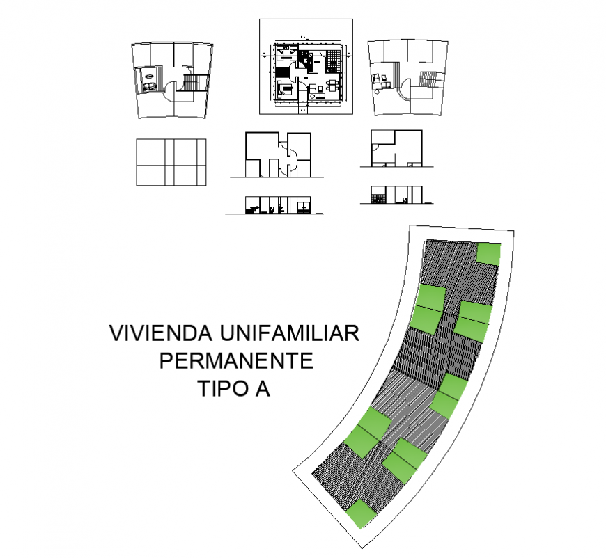 Organic uni-family housing building elevation and plan 2d view layout dwg file