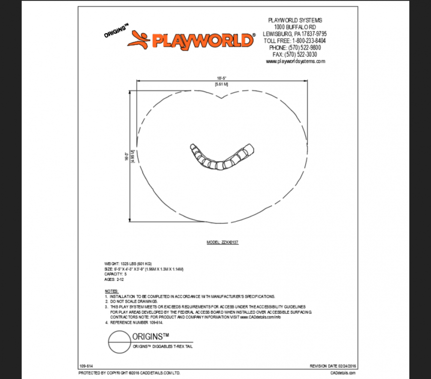 Origins diggable t-rex tail top view play area play equipment details dwg file