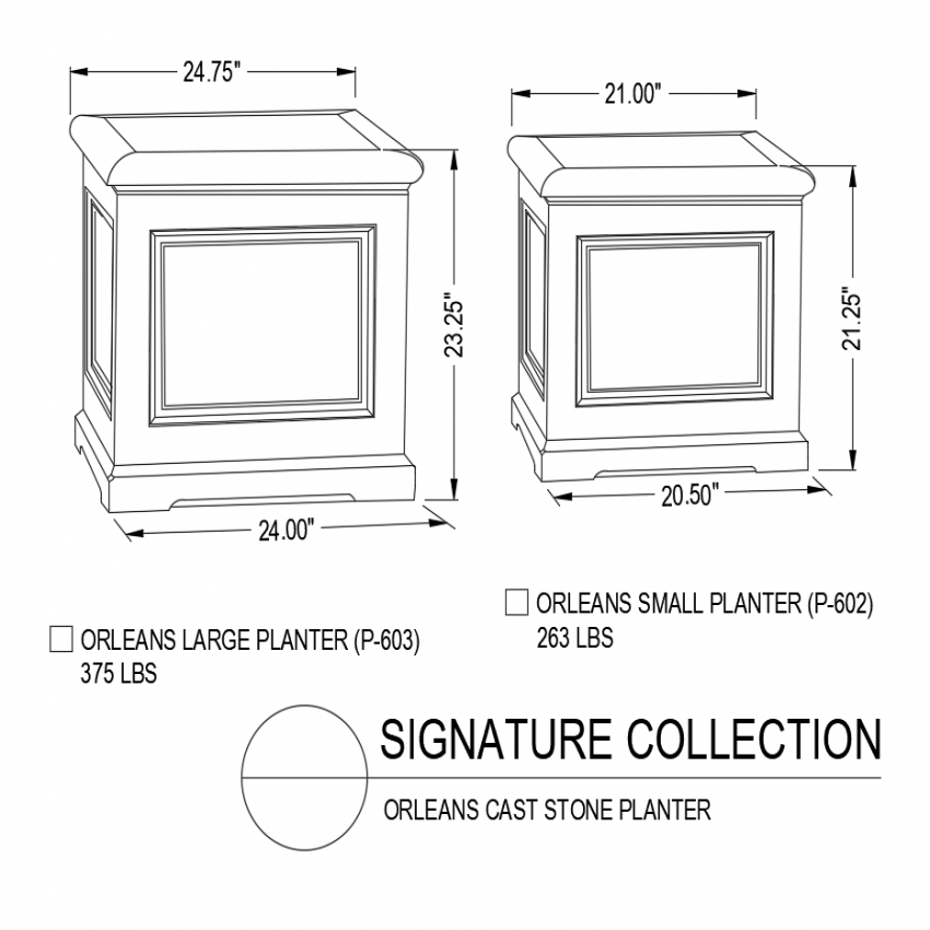 Orleans large and small and large and small cast stone with isometric view dwg file