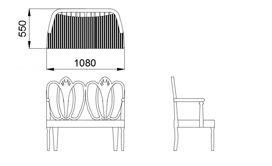 Ornate bench seat elevation model detail dwg file