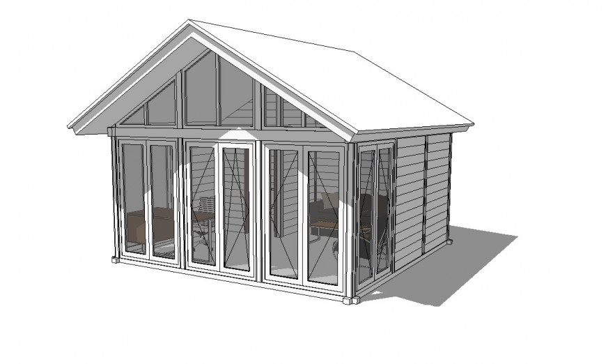 Out house detailing of a bungalow 3d