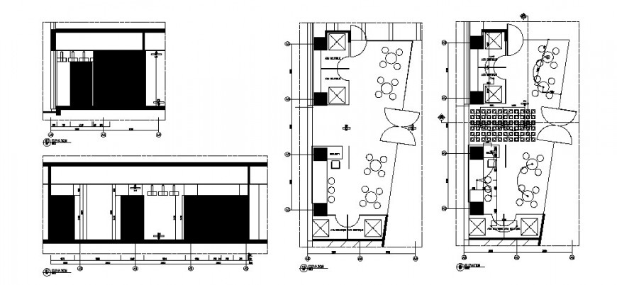 Outdoor cafe store elevation and layout plan cad drawing details dwg file