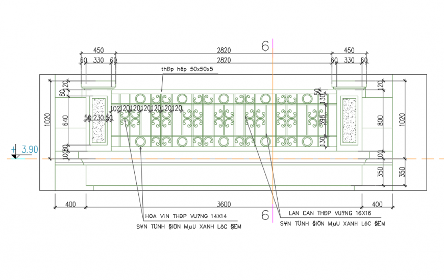 Outer side Railing Design drawing in DWG file