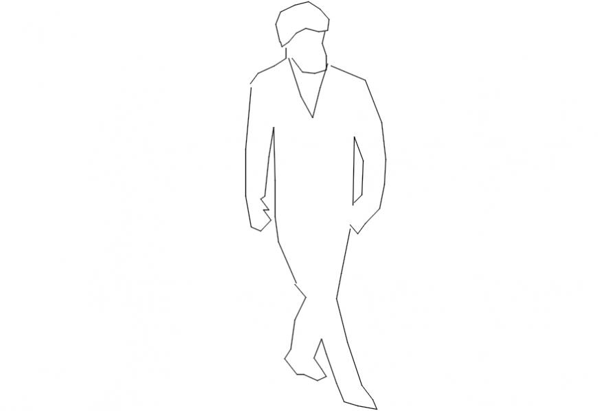Outline figure drawing details of man block dwg file