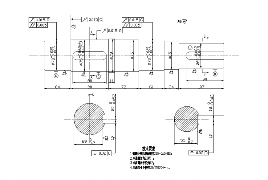 Output shaft section and plan cad drawing details dwg file