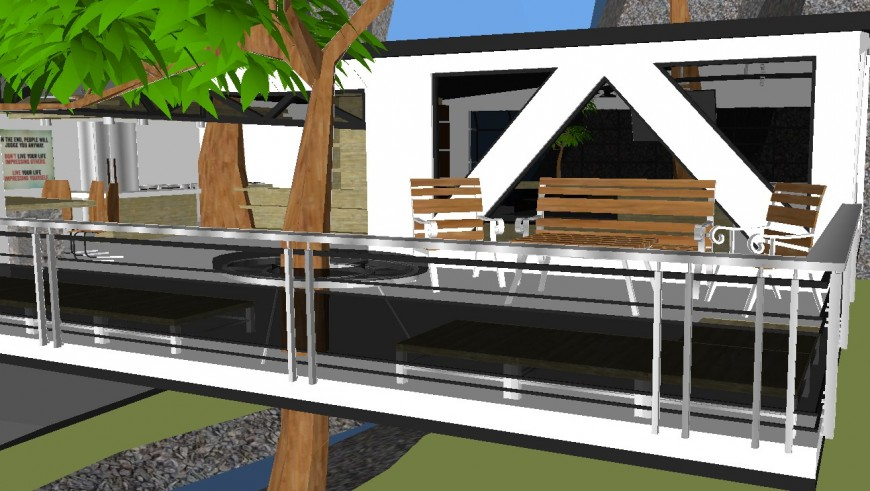 Outside furniture 3d model view of house