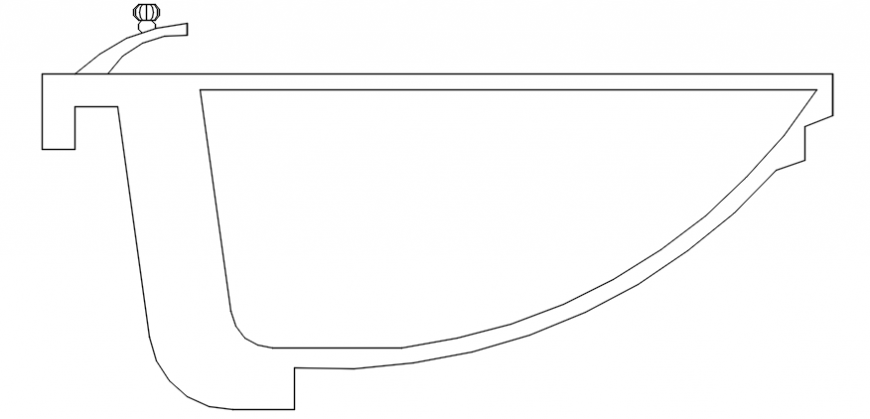 oval basin section detail drawing .dwg file