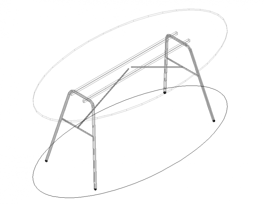 Oval glass table furniture cad block details dwg file