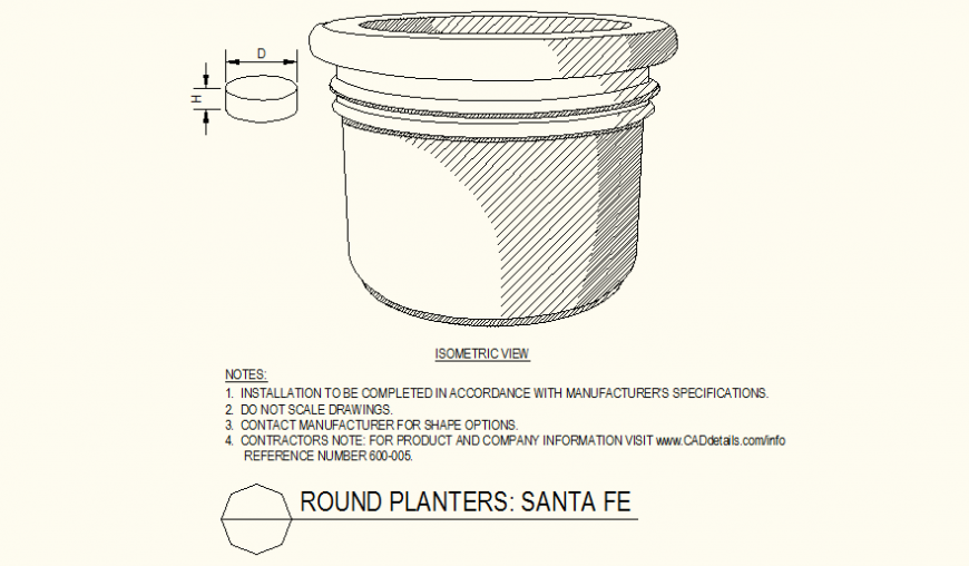 Oval shaped pot detail dwg file
