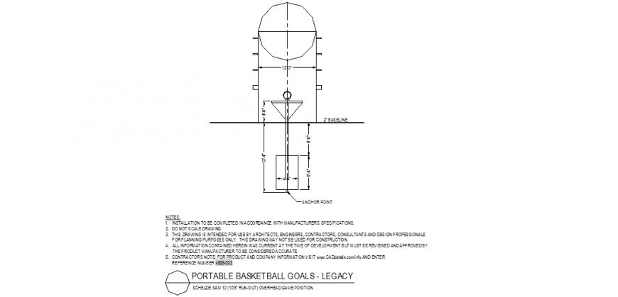 Overhead basket goal detail layout file