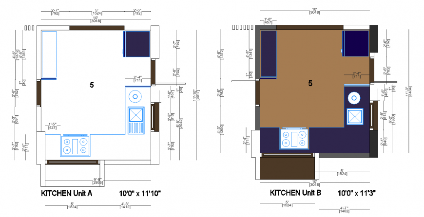 Pacifica kitchen unit-a and unit-b drawing in dwg file.