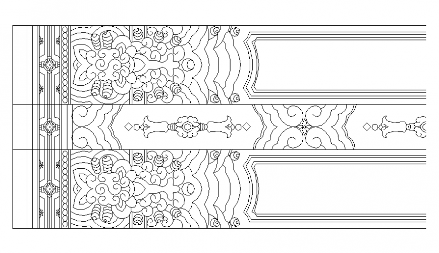 Painted tile design block cad drawing details dwg file