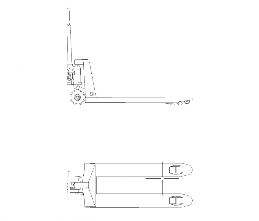 Pallet truck plan and elevation autocad file