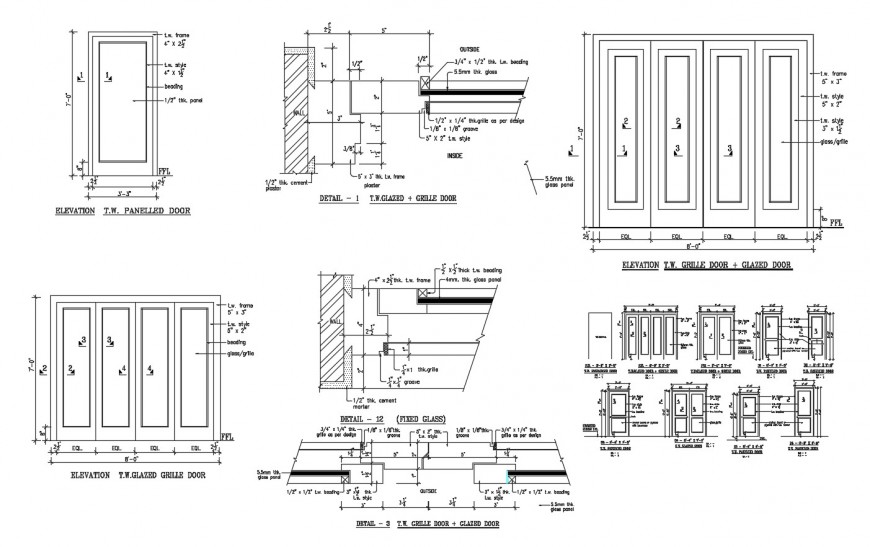 Paneled, grill and glazed door elevations and installation cad drawing details dwg file